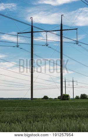 High voltage electric transmission tower energy pylon.
