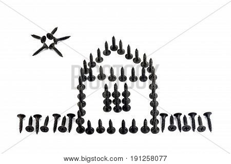 House With Fence And Sun Laid Out With Black Oxidized Self-tapping Screw Isolated On White Backgroun