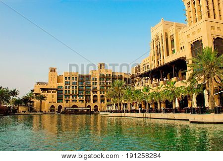 DUBAI UAE - MAY 2014: The restaurant abra station and building hotel Al Qasr Madinat Jumeirah complex. The view from the abra