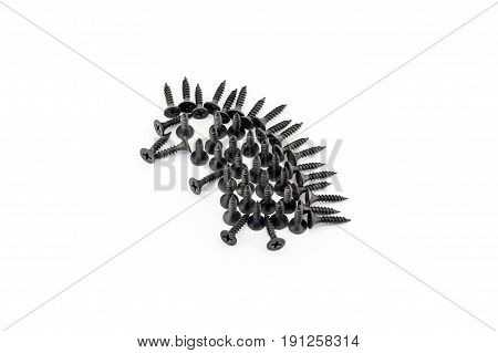 Illustration Hedgehog Drawing With Black Screws On White Background