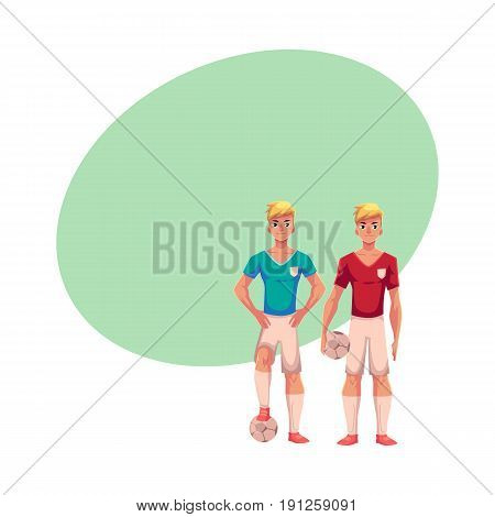 Two blond soccer players standing with football balls, cartoon vector illustration with space for text. Full length portrait of two professional soccer players standing with football balls