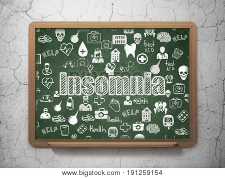 Healthcare concept: Chalk White text Insomnia on School board background with  Hand Drawn Medicine Icons, 3D Rendering