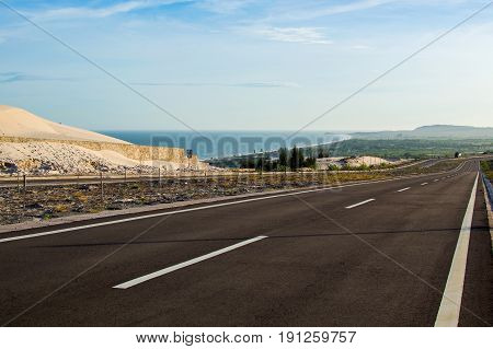 National Road With White Sand Dune In Mui Ne