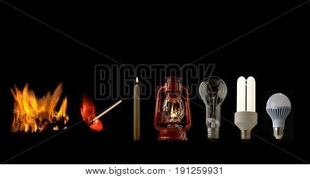 Evolution of lighting light sources isolated on a black background