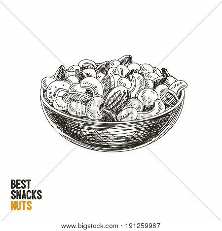 Vector hand drawn snack and junk food Illustration. Nuts mix. Vintage style sketch .