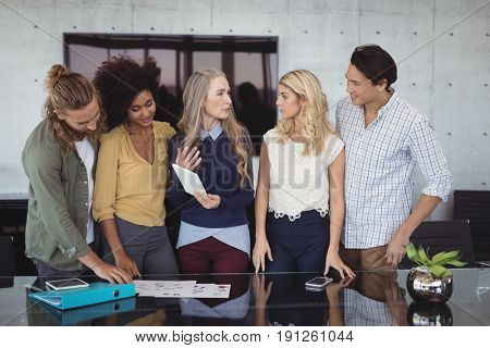 Creative business team working at office desk