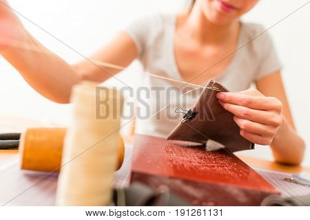 Handmade leather craft at home