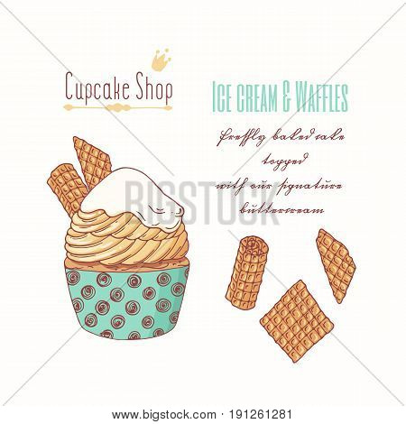 Hand drawn cupcake with waffles and doodle buttercream for pastry shop menu. Vector illustration