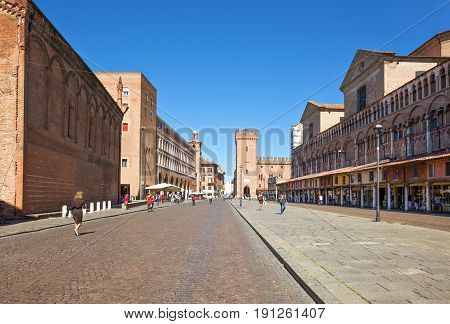 Ferrara Italy - July 21 2011: View of Trieste e Trento square with the Ducal palace in the background