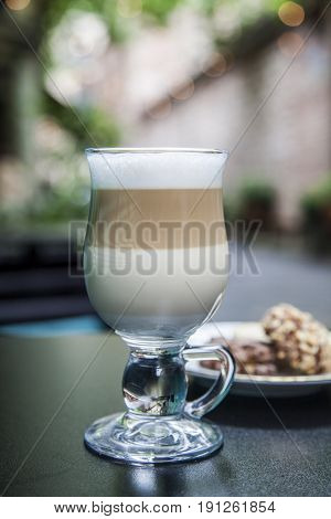 caffe latte machiato cookies, drink, coffee, cup