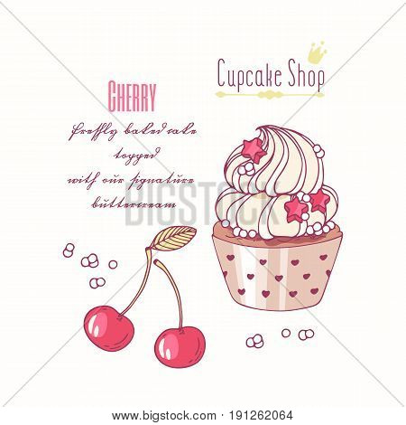 Hand drawn cupcake with doodle buttercream for pastry shop menu. Cherry flavor. Vector illustration