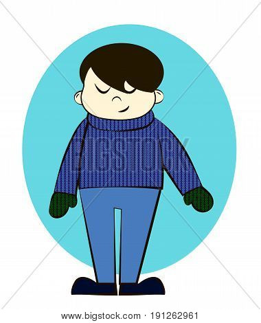 Boy in Winter Knitted Sweater or Cardigan and Mittens Cartoon Vector Illustration