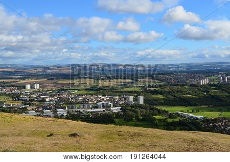 Looking at the city of Edinburgh from the Scottish Highlands.