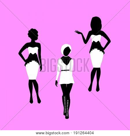 Fashion woman model silhouettes set in various poses in tight dresses. Vector illustration