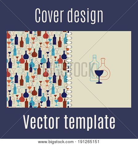 Cover design for print with full color silhouette bar drinks, vector illustration