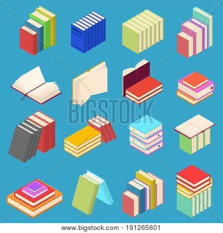 Stack Of Color Books Set Isometric View on a Blue Background Symbol Of Education. Vector illustration