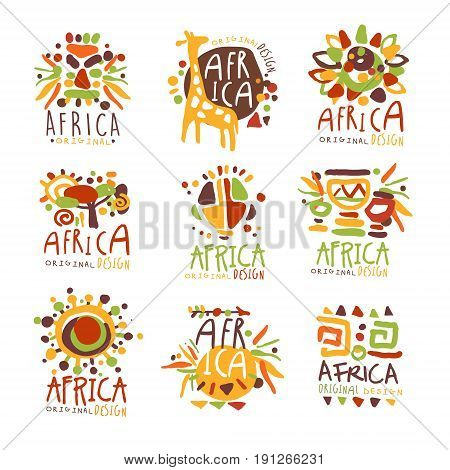Africa set for logo original design. Travel to Africa colorful hand drawn vector llustrations for use in the tourist industr