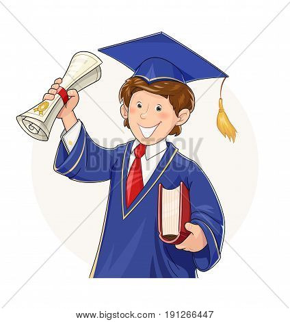 Student in graduate suit with diploma and book. School, college, university Education. Cartoon character scientist costume. Isolated white background. Academic learning. Vector illustration.