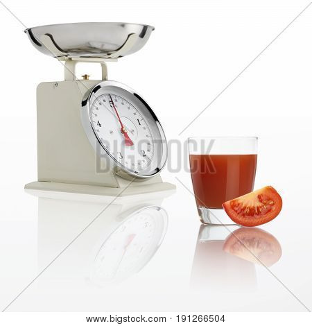 weight scale with tomato juice glass isolated on white background Balanced diet concept