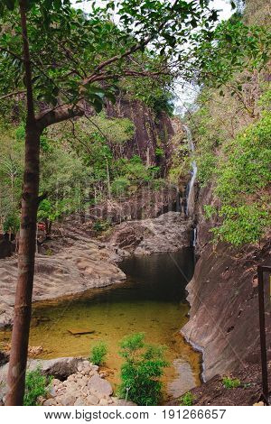 Khlong Phlu waterfall in deep forest at Mu Koh Chang National Park, Chang island, Thailand.