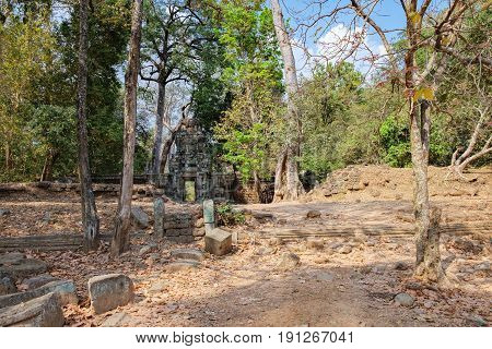 Ancient Khmer architecture is located inside the walled enclosure of the Royal Palace of Angkor Thom north of Baphuon, Siem Reap, Cambodia. World Heritage famous, Cambodian landmark