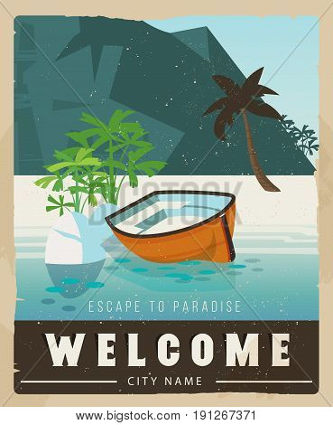 Vacation card design. Retro voyage illustration for advertising. Beautiful paradise cove with ridge mountains, sea with boat.