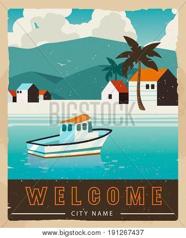 Vacation card design. Retro voyage illustration for advertising. Beautiful paradise cove with ridge mountains, sea with boat. Water transport rent