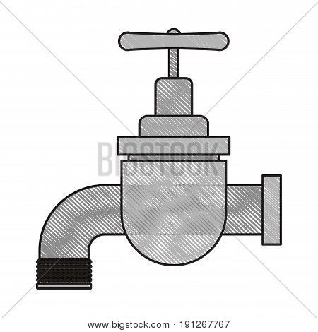 colored crayon silhouette of faucet icon vector illustration