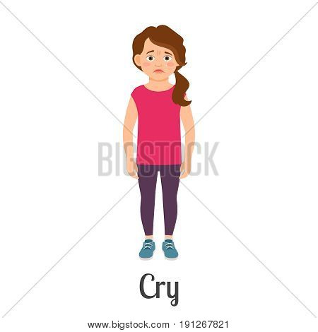 Cartoon little girl crying feeling isolated on white background. Vector illustration