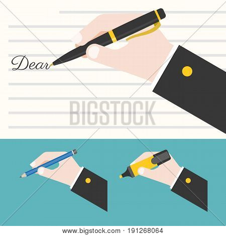 Hand holding different pen writing words, Hand writing letter