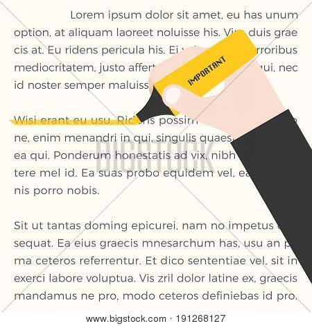 Yellow highlighter, highlight line, flat design vector