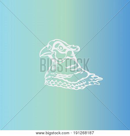 Hand-drawn pencil graphics, bird, pheasant. Engraving, stencil style. Logo, sign,emblem, symbol. Stamp, seal. Simple illustration. Sketch.
