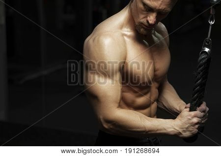 Strong muscular bodybuilder training on simulator, doing triceps exercise. Male fitness model posing in gym.