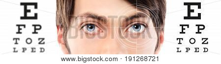 eyes close up on visual test chart eyesight and eye examination concept in white background