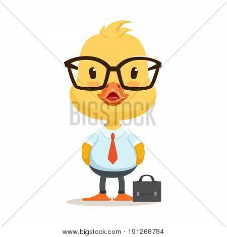 Little cartoon duckling character wearing as office worker, cute emoji vector Illustration isolated on a white background