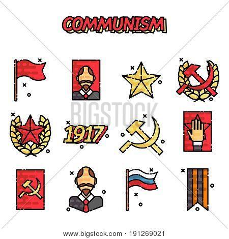 Communism cartoon concept icons. Vector illustration, EPS 10