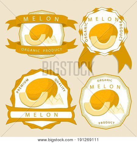 Vector illustration logo for whole ripe fruit yellow melon,cut half sliced cantaloupe background.Melon drawing pattern consisting of tag label natural sweet food.Eat fresh raw organic fruits melons.
