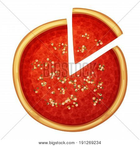 Chicago pizza top view. Cartoon vector food illustration isolated on white background. American and Italian fast food pizza