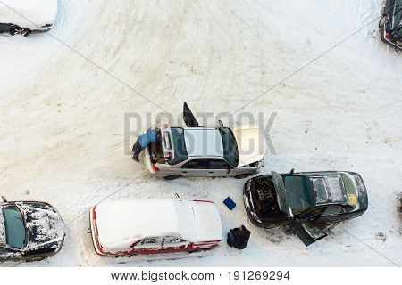 Borisov Belarus - January 07 2017: people are trying to start the car in cold weather