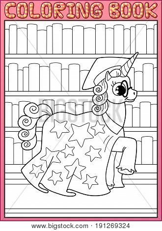 Coloring book page. Astronomy master unicorn horse walks along book's shelves