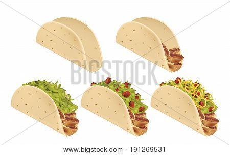 Traditional mexican Taco. Stages of preparation. Vector illustration
