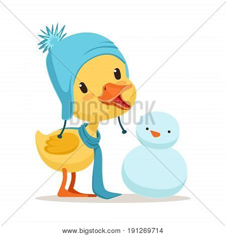 Little yellow duck chick wearing blue knitted hat playing with snowman, cute emoji character vector Illustration isolated on a white background