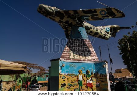 MIG aircraft monument in the center of Hargeisa - 09.01.2016 Somalilend Somalia
