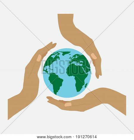 Three hands and earth concern for the environment the land in their hands flat design vector image