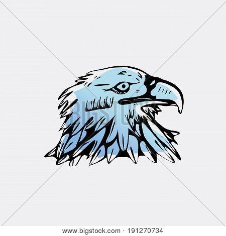 Hand-drawn pencil graphics, bird, eagle, hawk, kite, vulture. Engraving, stencil style. Logo, sign, emblem, symbol. Stamp, seal. Simple illustration. Sketch.