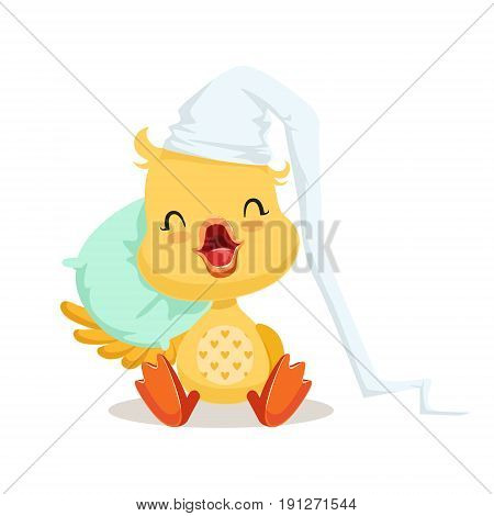 Sweet yellow duckling sleeping on a pillow, emoji cartoon character vector Illustration isolated on a white background