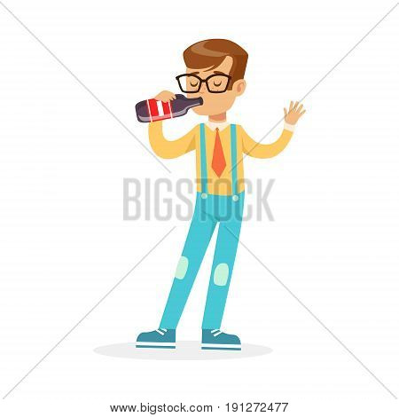 Cute boy drinking soda from a bottle, colorful character vector Illustration isolated on a white background