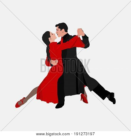 tango dance couple dancing the tango ballroom-sport dance emblem dance studio dance school vector image