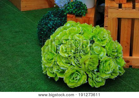 rose flower green plastic artificial. for beautiful background