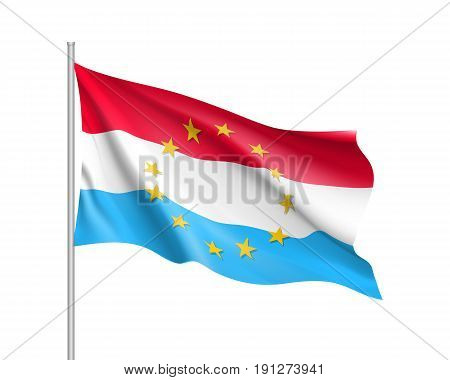 Luxembourg national waving flag with a circle of European Union twelve gold stars, political and economic union, EU member since 1 January 1958. Realistic vector illustration